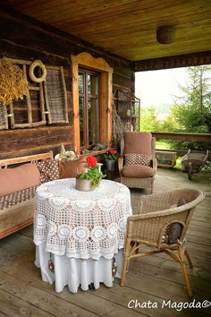 Life in a Polish Country Cottage. Home Furniture, Outdoor Furniture Sets, Outdoor Decor, Porches, Poland Culture, Big Houses, Rustic Design, Decoration, Home And Living