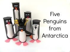 5 penguins from Antartica paper roll craft