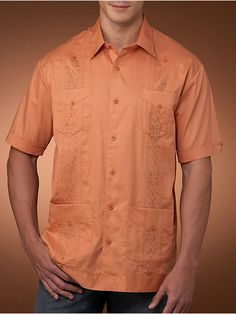 100%Cotton Guayabera, remember short sleeves is a casual look. If invited to a formal event, a long-sleeved Guayabera is the way to go.