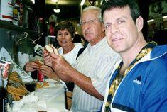 The author's parents, Frances & Alfred Speranza, and husband Jon Kardon enjoying muffalettas at Central Grocery circa 2003 Prisoner, Parents, Novels, Husband, Author, Coat, Fashion, Dads, Moda