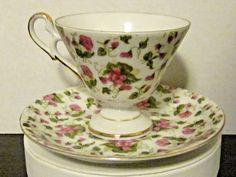 Vintage Tea Cup & Saucer, Tranfer Pink Flower Chintz Pattern,Gold Trim #Unkonwn #MV2119