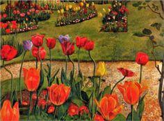 Stanley Spencer, (English painter, 1891-1959) Landscape Cookham Dene 1939