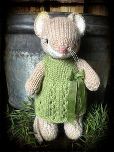 Knitted Woodland Mouse Toy in Spring Dress