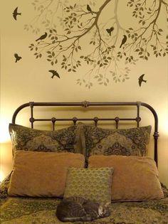 WALL STENCIL TREE BRANCH WITH SONG BIRDS. REUSABLE EASY WALL STENCILS | CuttingEdgeStencils - Handmade Supplies on ArtFi