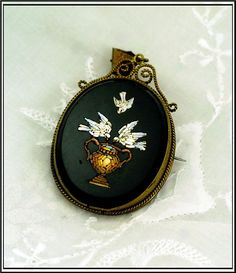Antique Micro Mosaic Pendant Of Three Doves Mounted In A Brass Setting