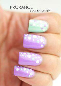 Purple & Green Polka Dot Nails