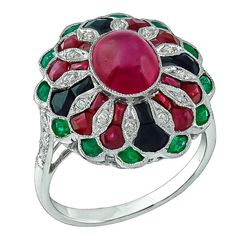 1.76 Carat Cabochon Ruby Emerald Onyx Diamond Gold Ring | From a unique collection of vintage cluster rings at https://www.1stdibs.com/jewelry/rings/cluster-rings/