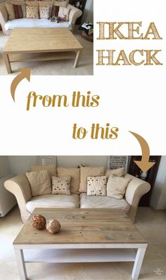 Ikea Lack coffee table hack with some wood and dye - Home Decor -DIY - IKEA- Before After Coffee Table Hacks, Ikea Lack Coffee Table, Coffee Table Makeover, Lack Table Hack, Coffee Table Ikea Hack, Coffee Tables, Ikea Dining Table Hack, Coffee Table Upcycle, Coffee Chairs