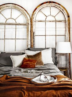 Don't have a million bucks to spend on a brand new bed frame and headboard? Looking for something creative to do that is inexpensive, but looks great in your room? Why not try one of these creative headboard ideas and give your bed a total makeover. Home Bedroom, Master Bedroom, Bedroom Decor, Bedroom Ideas, Design Bedroom, Bedroom Lighting, Modern Bedroom, Guest Bedrooms, Stylish Bedroom