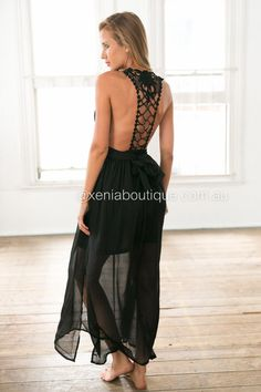344fe154081 Black Chiffon Lace Back Maxi Dress