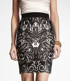 LACE PRINT SATIN PENCIL SKIRT at Express