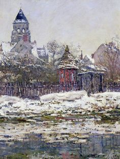 Trademark Fine Art ''The Church at Vetheuil Canvas Wall Art by Claude Monet Pierre Auguste Renoir, Post Impressionism, Impressionist Paintings, Monet Paintings, Landscape Paintings, Landscapes, Artist Monet, Edgar Degas, Gustav Klimt