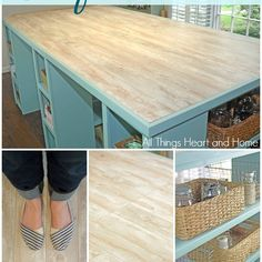 DIY Craft Room Table! (Guess What the TOP is Made Of?  -  Laminate Flooring! Brilliant!