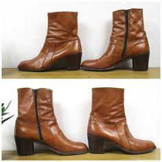 Vintage Mens Leather Ankle Boots Tom Waits by SkinnedKneesVintage