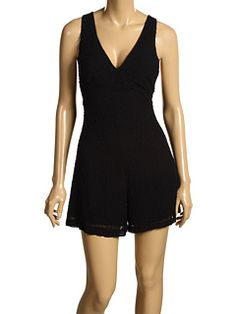 French connection black beaded romper