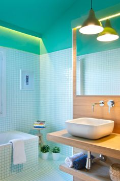 Aqua tile modern bathroom inspiration // Calm and cooling colourful bathroom contrasted by the warm wood vanity. Benicassim House is a comprehensive renovation project completed by Spanish interior design studio Egue y Seta, in Benicassim, Valencia. Bathroom Renovations, Home Renovation, Bathroom Interior Design, Interior Design Studio, Color Interior, Modern Bathroom, Small Bathroom, Bathroom Ideas, Spanish Interior