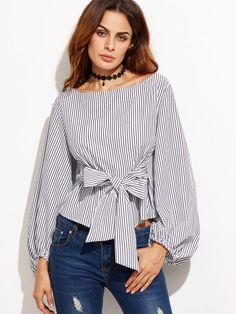 Online shopping for Bow Belted Front Exaggerated Lantern Sleeve Striped Top from a great selection of women's fashion clothing & more at MakeMeChic. Vintage Tops, Blouse Styles, Blouse Designs, Mode Ab 50, Lady Like, Look Fashion, Womens Fashion, Fashion Outfits, Fashion Scarves