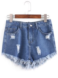 Shop Distresed Raw Hem Denim Shorts - Blue online. SheIn offers Distresed Raw Hem Denim Shorts - Blue & more to fit your fashionable needs.