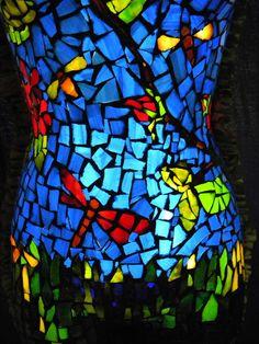 Close up of Persephone's torso Mosaic Glass, Glass Art, Illumination Art, Persephone, Cube, Bloom