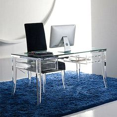 lucite or glass desk | glass and acrylic option involves using a dining table as a roomy desk ...