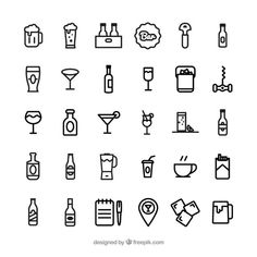 Download Bar Icons for free - Coffee Icon - Ideas of Coffee Icon #coffeeicon #coffee - Bar icons | Free Vector #Freepik #freevector #coffee #icon #restaurant