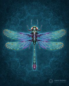 Damask Dragonfly - Art Print - Brigid Ashwood via Etsy
