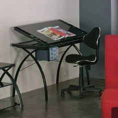 studio designs futura drafting table with glass top and chair