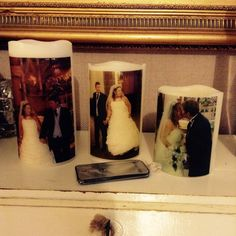 Set of three remote control, led personalised candles I can put any of your pictures on them xx £20.00