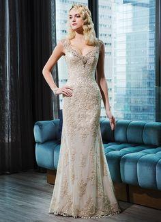 lace straight dress   V-neck by Justin Alexander champagne wedding dress   itakeyou.co.uk