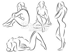 4 vector illustrations of stylized nude female figures Drawing Female Body, Female Art, Figure Sketching, Figure Drawing, Dibujos Pin Up, Drawing Sketches, Drawings, Figure Poses, Poses References