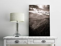 Black and White Mountains Wall Art Print -- Fine Art landscape photography , Forest, Trees, Snow, Home Decor, by HeatherRobersonPhoto