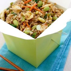 Excellent healthy fried rice (yes, there is such a thing). But do make sure you do your chopping ahead of time. Food processor will save you. And make sure you have your edamame shelled ahead of time (oops!)!