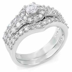 Stone Savvy Sterling Silver Wedding Ring Set, Crafted with Top Quality Diamond Color Round Cut Cubic Zirconia, Limited Time Sale Price Offer, Comes with a Free Gift Box and Special Pouch silverjewelryforever. $64.99