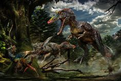 """Qianzhousaurus sinensis """"Pinocchio Rex"""" The new specimen had a long snout with many teeth, and horns on its nose. The creature probably weighed a little less than a ton and was probably 25 to 30 feet (7.5 to 9 meters) long, compared with a full-grown T. rex, which weighed about 5 tons and was about 40 feet (12 m) long, the researchers said."""
