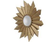 modern gold star mirror | folded gold metal starburst mirror | gold sunburst mirror | sunshine mirror | round star wall art