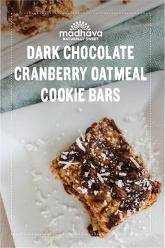 Dark Chocolate Cranberry Oatmeal Cookie Bars | Madhava