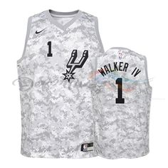 db596f960 Camisetas NBA Niño Edición ganada San Antonio Spurs NO.1 Lonnie Walker Gris  2018-