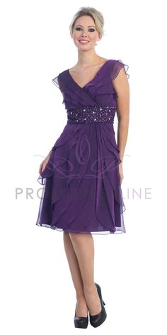 (This purple might have too much blue in it...) Purple Chiffon V-neck Sparkling Accents $112.00 on www.GirlsDressLine.Com