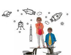 Pack de vinilos adhesivos infantiles con gráficas sobre la Conquista del Espacio formada por 17 vinilos, con estrellas, planetas, y naves es...#vinilosinfantiles, #vinilos bebés, #vinilos niños
