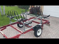 4 kayak trailer made from the Harbor Freight folding trailer. Kayak frame made from Superstrut & Unistrut. Kayak Fishing Gear, Kayaking Gear, Kayak Camping, Canoe And Kayak, Lake Kayak, Canoeing, Kayak Trailer, Off Road Camper Trailer, Trailer Build