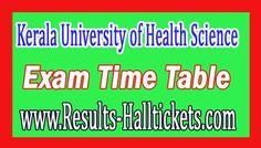 Kerala University of Health Science PG Medical Diploma Supply Nov 2016 Exam Time Table