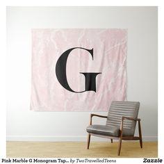 Pink Marble G Monogram Tapestry Marble Tapestry, Pink Marble, Christmas Card Holders, Bed Spreads, Vivid Colors, Picnic Blanket, Monogram, Zen, Prints