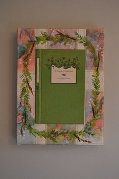 Beauty of Motherhood Mother's Day Book Art Painting with Green Wreath on Etsy, $95.00