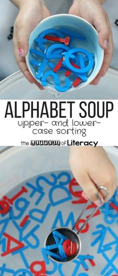 """Alphabet Soup Sensory Play Practice letter recognition with this fun and engaging """"alphabet soup!"""" Perfect for a water table and fun sensory play in preschool and kindergarten. Toddler Preschool, Learning Activities, Preschool Activities, Kids Learning, Kindergarten Sensory, Summer Activities, Teaching Resources, Educational Activities, Alphabet Games For Kindergarten"""