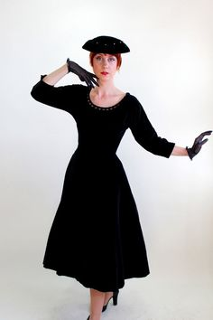 Sale  1950s Black Velveteen Party Dress Mad Men by gogovintage, $125.00