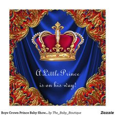 Boys Crown Prince Baby Shower 5.25x5.25 Square Paper Invitation Card