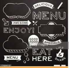 Chalkboard restaurant menu design elements. EPS 10 file. Transparency effects used on highlight elements.