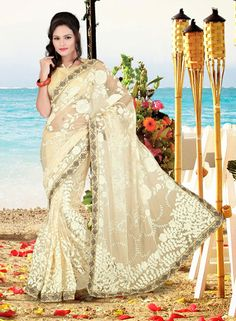 USD 93.57 Cream Net Party Wear Saree    36641