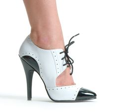 """Black & White 5"""" Heel Two Tone Closed Toe Oxford Shoes"""