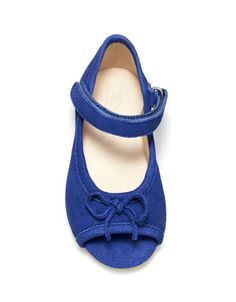 cobalt blue peep toes with red painted toenails